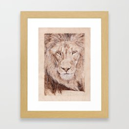Lion Portrait - Drawing by Burning on Wood - Pyrography Art Framed Art Print