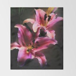 Pink Stargazer Lily Throw Blanket
