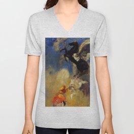 """Odilon Redon """"The Black Pegasus"""" Unisex V-Neck"""