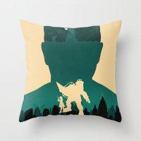 bioshock Throw Pillows featuring Bioshock by Bill Pyle