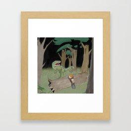 Raptor Trouble Colorized Framed Art Print