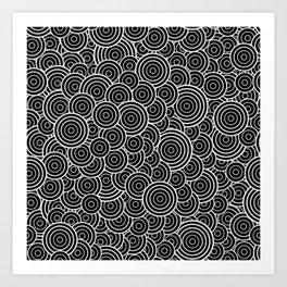 Chaotic Circles - Geometric Pattern (Black) Art Print