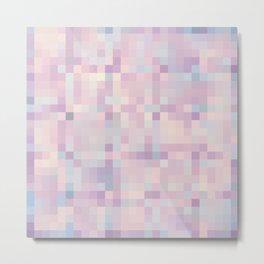 Pink Lavender Blue Gray Pixels Metal Print