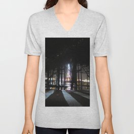 Blackpool Lights Reflection In Water At Night  Unisex V-Neck
