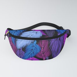 Watercolor Macrame Feather Toss in Black + Indigo Fanny Pack
