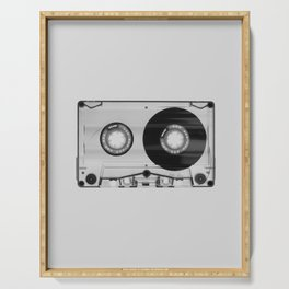 Vintage 80's Cassette - Black and White Retro Eighties Technology Art Print Wall Decor from 1980's Serving Tray