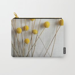Yellow Pom-Pom Floral Carry-All Pouch