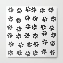 Paw Prints Pattern Dog & Puppy (Black & White) Metal Print