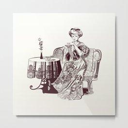 lady drinks tea Metal Print