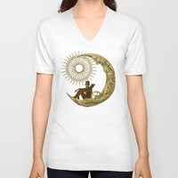 noir V-neck T-shirts featuring Moon Travel by Eric Fan