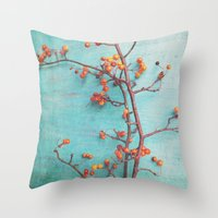 Throw Pillows featuring She Hung Her Dreams on Branches by Olivia Joy StClaire