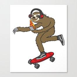 Skater Sloth Pizza Canvas Print