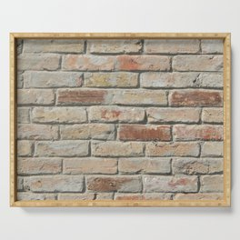 The texture of natural stone and wood, brickwork Serving Tray