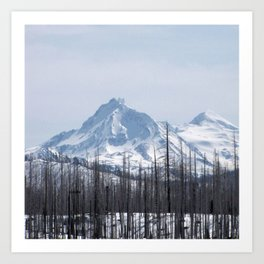 Snow On The Three Sisters Mountains 282 Art Print