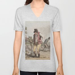 Illustration of stone breakers on the road from The Costume of Yorkshire (1814) by George Walker (17 Unisex V-Neck