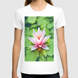 Pink Lotus Waterlily & Green Lily Pads T-shirt