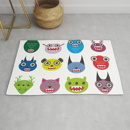 Cute cartoon Monsters Set. Big collection on white background Rug