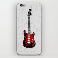 music notes iPhone & iPod Skins featuring Music Notes Electric Guitar by GBC Design