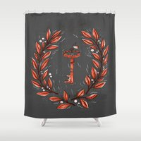 key Shower Curtains featuring Symbol Key by pam wishbow