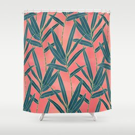 Modern coral and blue foliage design Shower Curtain
