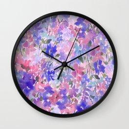 Rainy Garden Blues Wall Clock