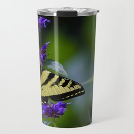 Butterfly on a Purple Flower Travel Mug