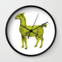 llama Wall Clocks featuring llama by youareconstance