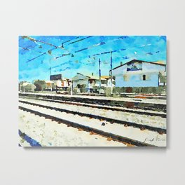 Travel by train from Teramo to Rome: tracks and buildings Metal Print