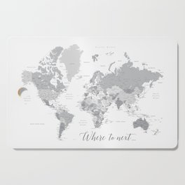 Where to next world map with cities in grayscale Cutting Board
