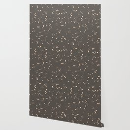 Mauve gray ivory hand drawn watercolor floral Wallpaper