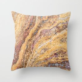 Melting Mustard Rock // Red Accent Natural Earth Textured Unique Cool Accent Decoration Throw Pillow