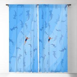 Shark Beach Swimmer | Aerial Illustration Blackout Curtain