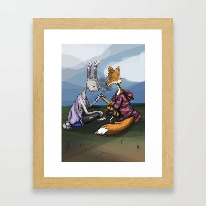 fox and the hare Framed Art Print