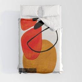Mid Century Modern Abstract Vintage Pop Art Space Age Pattern Orange Yellow Black Orbit Accent Duvet Cover