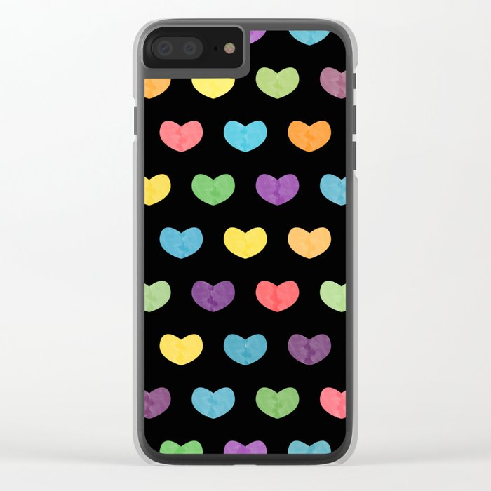 Colorful hearts II Clear iPhone Case