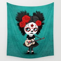 korean Wall Tapestries featuring Day of the Dead Girl Playing South Korean Flag Guitar by Jeff Bartels