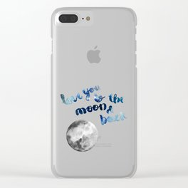 "ROYAL BLUE ""LOVE YOU TO THE MOON AND BACK"" QUOTE + MOON Clear iPhone Case"