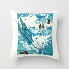 mermaid of Zennor collagraph 1 Throw Pillow