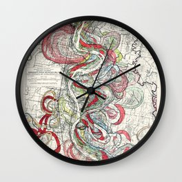 Beautiful Vintage Map of the Mississippi River Wall Clock