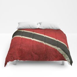 Old and Worn Distressed Vintage Flag of Trinidad and Tobago Comforters