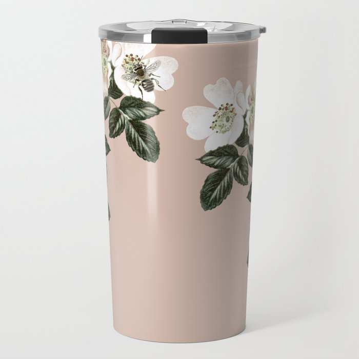 Bee Blackberry Bramble Coral Pink Travel Mug