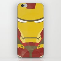 iron man iPhone & iPod Skins featuring IRON MAN by LindseyCowley