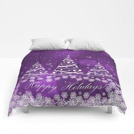 Happy Holidays Purple Magic Comforters