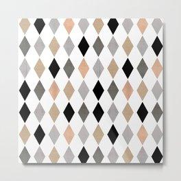 Scandinavian pattern . Grunge. Diamonds . Metal Print