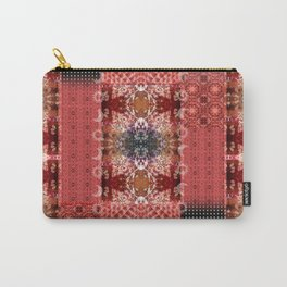 Boho Red Patchwork and Celestial Hippie Pattern Carry-All Pouch