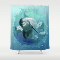 dolphins Shower Curtains featuring Dolphins by Lynne Hoad
