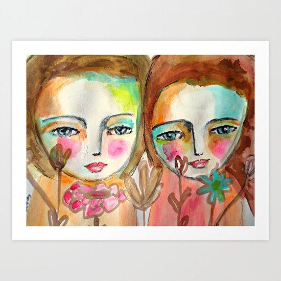 2 girls Art Print