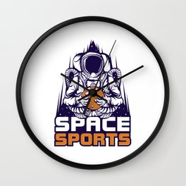 """Are You A Fan Of Astronomy? An Astronaut Dreamer? Astronaut Holding Moon """"Space Sports"""" T-shirt Wall Clock"""