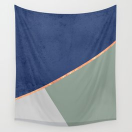 Navy Sage Gray Gold Geometric Wall Tapestry