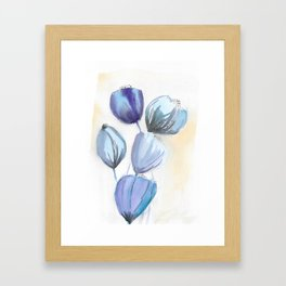 Blue bell flowers watercolor painting romantic something blue Framed Art Print